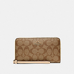 COACH F73418 Large Phone Wallet In Signature Canvas GOLD/KHAKI/PLATINUM