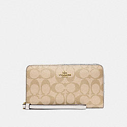 COACH F73418 - LARGE PHONE WALLET IN SIGNATURE CANVAS LIGHT KHAKI/CHALK/IMITATION GOLD