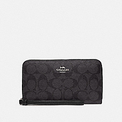 COACH F73418 - LARGE PHONE WALLET IN SIGNATURE CANVAS SV/BLACK SMOKE/BLACK