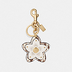 COACH F73424 Wildflower Bag Charm CHALK/GOLD