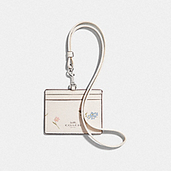 COACH F73440 Id Lanyard With Multi Floral Print CHALK MULTI/SILVER