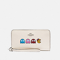 LARGE PHONE WALLET WITH MS. PAC-MAN ANIMATION - F73444 - CHALK MULTI/SILVER