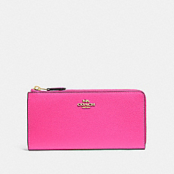 COACH F73445 - L-ZIP WALLET PINK RUBY/GOLD