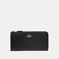 COACH F73445 L-zip Wallet BLACK/GOLD