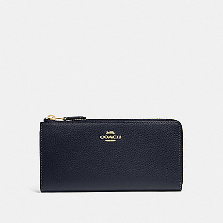 COACH F73445 L-ZIP WALLET MIDNIGHT/GOLD