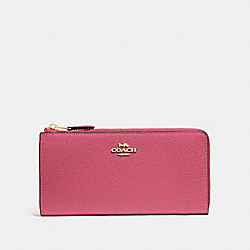 COACH F73445 L-zip Wallet ROUGE/GOLD