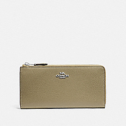 COACH F73445 L-zip Wallet LIGHT CLOVER/SILVER