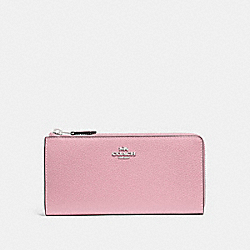 COACH F73445 L-zip Wallet CARNATION/SILVER