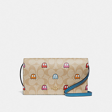 COACH F73447 HAYDEN FOLDOVER CROSSBODY CLUTCH IN SIGNATURE CANVAS WITH PAC-MAN GHOSTS PRINT LIGHT KHAKI MULTI/GOLD