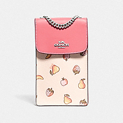 NORTH/SOUTH CROSSBODY WITH MIXED FRUIT PRINT - F73448 - CHALK MULTI/PEONY/SILVER