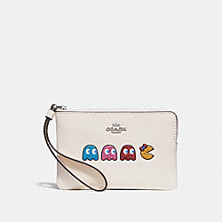 COACH F73449 Corner Zip Wristlet With Ms. Pac-man CHALK MULTI/SILVER
