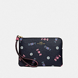 COACH F73452 Corner Zip Wristlet With Scattered Candy Print NAVY/MULTI/PINK RUBY/GOLD