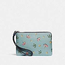 COACH F73453 Corner Zip Wristlet With Beach Umbrella Print SEAFOAM/MIDNIGHT/SILVER