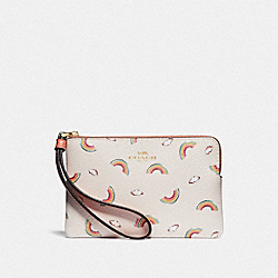 COACH F73454 Corner Zip Wristlet With Allover Rainbow Print CHALK/LIGHT CORAL/GOLD