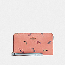 COACH F73455 Large Phone Wallet With Sunglasses Print LIGHT CORAL/MULTI/GOLD
