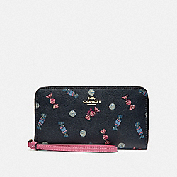 COACH F73456 Large Phone Wallet With Scattered Candy Print NAVY/MULTI/PINK RUBY/GOLD