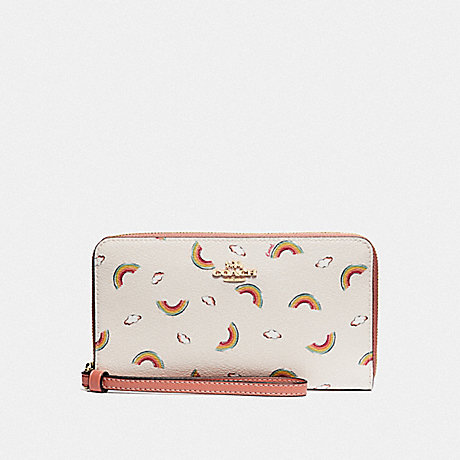 COACH LARGE PHONE WALLET WITH ALLOVER RAINBOW PRINT - CHALK/LIGHT CORAL/GOLD - F73457