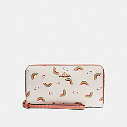 COACH F73457 Large Phone Wallet With Allover Rainbow Print CHALK/LIGHT CORAL/GOLD
