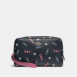COACH F73459 Boxy Cosmetic Case With Scattered Candy Print NAVY/MULTI/PINK RUBY/GOLD