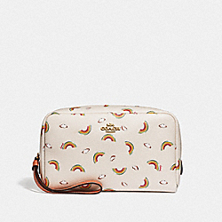 COACH F73460 Boxy Cosmetic Case With Allover Rainbow Print CHALK/LIGHT CORAL/GOLD