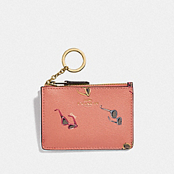 COACH F73463 - MINI SKINNY ID CASE WITH SUNGLASSES PRINT LIGHT CORAL/MULTI/GOLD