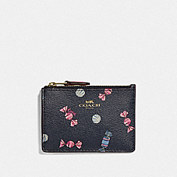COACH F73464 Mini Skinny Id Case With Scattered Candy Print NAVY/MULTI/PINK RUBY/GOLD