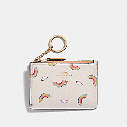 COACH F73465 Mini Skinny Id Case With Allover Rainbow Print CHALK/LIGHT CORAL/GOLD
