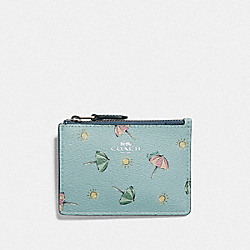 MINI SKINNY ID CASE WITH BEACH UMBRELLA PRINT - F73466 - SEAFOAM/MIDNIGHT/SILVER
