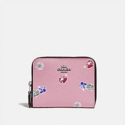 DISNEY X COACH SMALL ZIP AROUND WALLET WITH SNOW WHITE AND THE SEVEN DWARFS GEMS PRINT - F73472 - TULIP/MULTI/SILVER