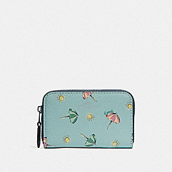 SMALL ZIP AROUND COIN CASE WITH BEACH UMBRELLA PRINT - F73473 - SEAFOAM/MIDNIGHT/SILVER