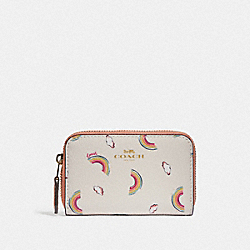 SMALL ZIP AROUND COIN CASE WITH ALLOVER RAINBOW PRINT - F73474 - CHALK/LIGHT CORAL/GOLD