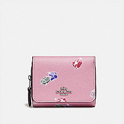 DISNEY X COACH SMALL TRIFOLD WALLET WITH SNOW WHITE AND THE SEVEN DWARFS GEMS PRINT - F73477 - TULIP/MULTI/SILVER