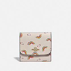 COACH F73478 Small Wallet With Allover Rainbow Print CHALK/LIGHT CORAL/GOLD
