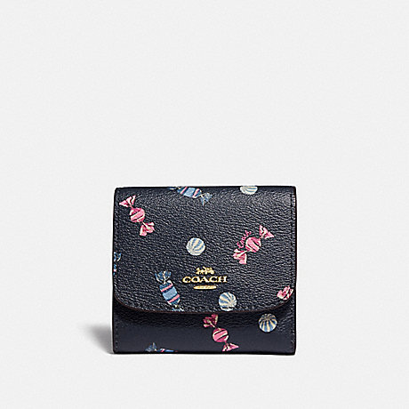 COACH F73479 SMALL WALLET WITH SCATTERED CANDY PRINT NAVY/MULTI/PINK RUBY/GOLD
