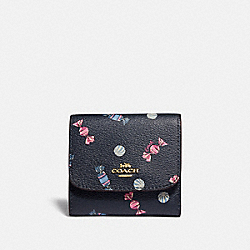 SMALL WALLET WITH SCATTERED CANDY PRINT - F73479 - NAVY/MULTI/PINK RUBY/GOLD