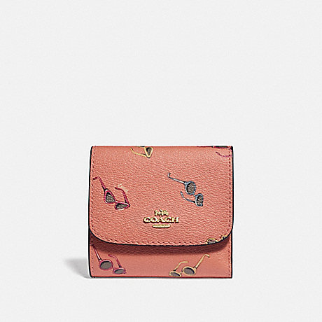 COACH F73480 SMALL WALLET WITH SUNGLASSES PRINT LIGHT CORAL/MULTI/GOLD