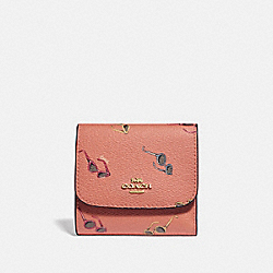 SMALL WALLET WITH SUNGLASSES PRINT - F73480 - LIGHT CORAL/MULTI/GOLD