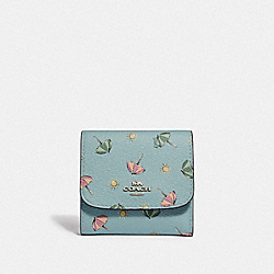 SMALL WALLET WITH BEACH UMBRELLA PRINT - F73481 - SEAFOAM/MIDNIGHT/SILVER