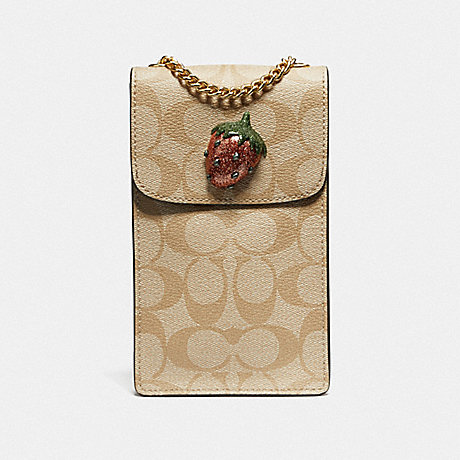 COACH F73486 NORTH/SOUTH CROSSBODY IN SIGNATURE CANVAS WITH FRUIT LIGHT KHAKI/CORAL/GOLD