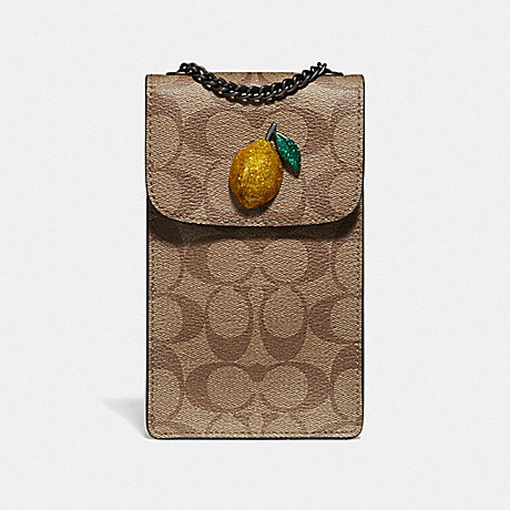 COACH F73486 NORTH/SOUTH CROSSBODY IN SIGNATURE CANVAS WITH FRUIT KHAKI/SUNFLOWER