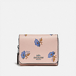 COACH F73490 Small Trifold Wallet With Bell Flower Print PINK/MULTI/SILVER