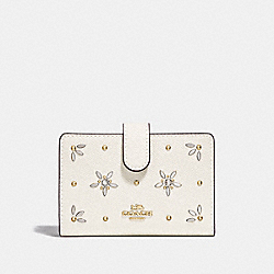 COACH F73497 Medium Corner Zip Wallet With Allover Studs CHALK