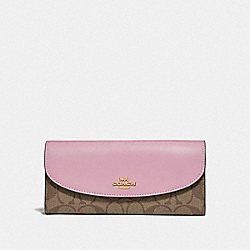 SLIM ENVELOPE WALLET IN COLORBLOCK SIGNATURE CANVAS - F73498 - TULIP/KHAKI/GOLD