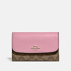 COACH F73499 Medium Envelope Wallet In Colorblock Signature Canvas TULIP/KHAKI/GOLD