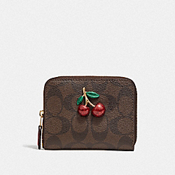 COACH F73509 - SMALL ZIP AROUND WALLET IN SIGNATURE CANVAS WITH FRUIT BROWN/BLACK/TRUE RED/GOLD