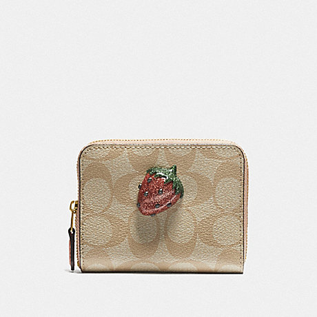 COACH F73509 SMALL ZIP AROUND WALLET IN SIGNATURE CANVAS WITH FRUIT LIGHT KHAKI/CORAL/GOLD
