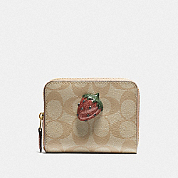 COACH F73509 - SMALL ZIP AROUND WALLET IN SIGNATURE CANVAS WITH FRUIT LIGHT KHAKI/CORAL/GOLD