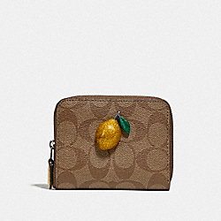 COACH F73509 - SMALL ZIP AROUND WALLET IN SIGNATURE CANVAS WITH FRUIT KHAKI/SUNFLOWER