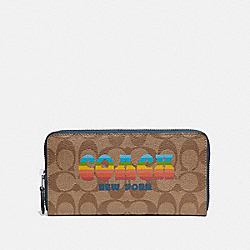 COACH F73510 - ACCORDION ZIP WALLET IN SIGNATURE CANVAS WITH RAINBOW COACH ANIMATION KHAKI/MULTI/SILVER