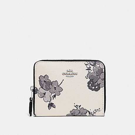 COACH F73515 SMALL ZIP AROUND WALLET WITH FAIRY TALE FLORAL PRINT SILVER/CHALK MULTI